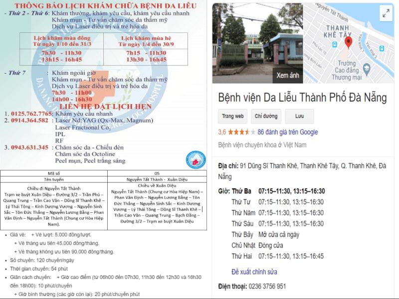 lich kham benh vien da lieu da nang